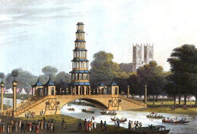 Chinese Bridge, St James's Park, in 1814  from An Historical Memento by E Orme (1814)