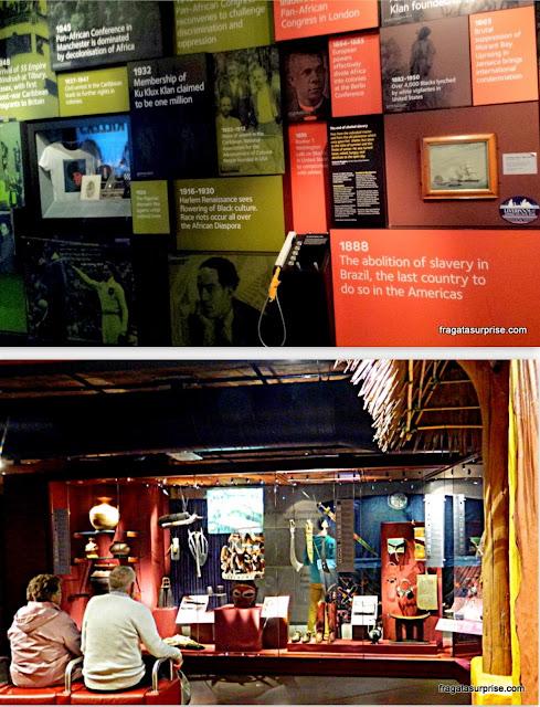 No alto, a ala interativa dedicada à memória  da luta contra a escravidão.  Acima, objetos rituais, utensílios e vestimentas  de povos da África Ocidental