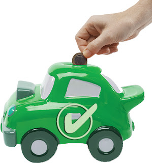 green car-shaped money box, Good Garage Scheme, saving, money, service plan