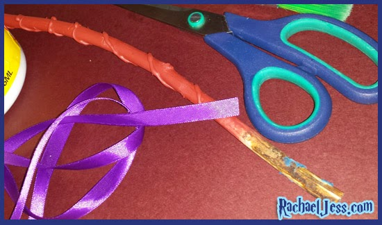 Adding ribbon handles to our wands