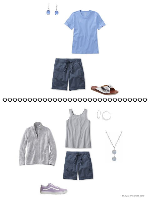 two outfits based on navy shorts