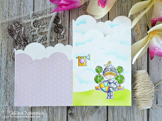 Fairytale Tri-fold Card by Tatiana Trafimovich | Knight's Quest Stamp Set by Newton's Nook Designs #newtonsnook #handmade