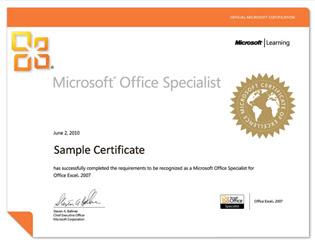 ejemplo certificado de Microsoft