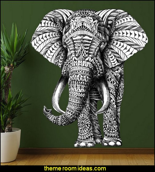 Ornate Elephant Wall Sticker Decal