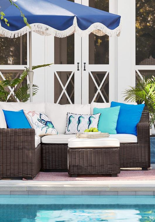 Coastal Outdoor Sea Life Blue White Pillows