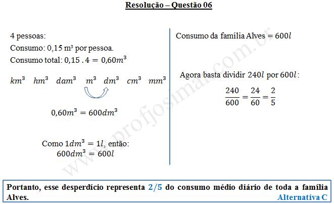 Questão 06 - Sistema de medidas usuais