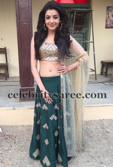 Kajal in Dark Green Lehenga