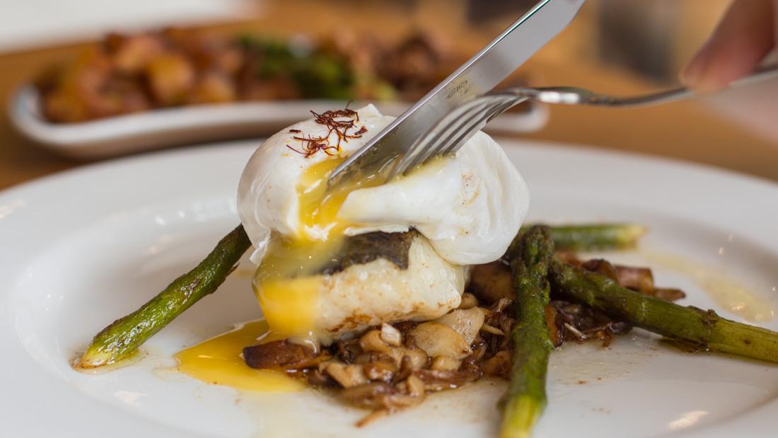 cod fillet and poached egg, Coleg y Cymoedd Scholar Restaurant