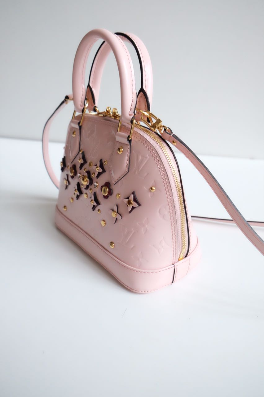 Louis Vuitton Alma Baby Monogram Vernis With Flowers Mirror Original  Leather Bag f65bd8a8f7
