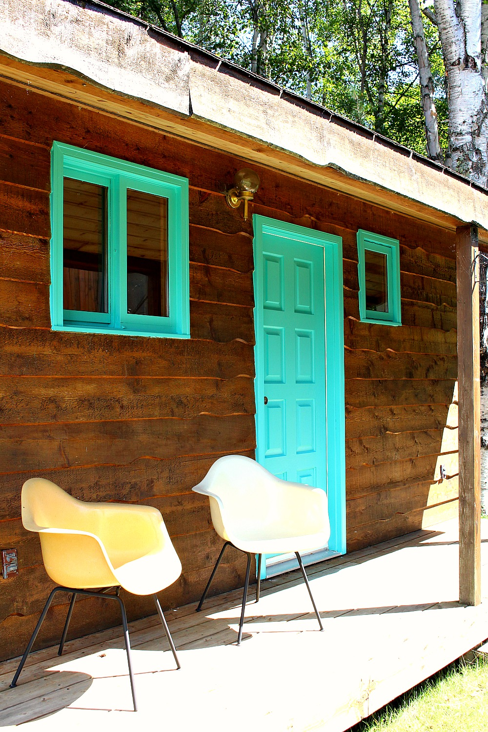 Turquoise Trim with Wood Siding