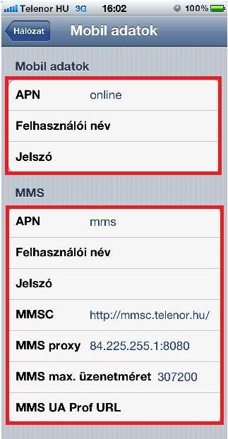 Telenor Hu APN beállítások iPhone 6S 5 4 iPad