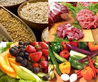 4 images of a balanced diet, grains, meats, fruits and vegetables