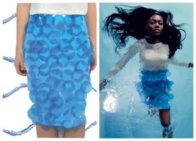 Falda customizada con circulos plasticos de carpeta