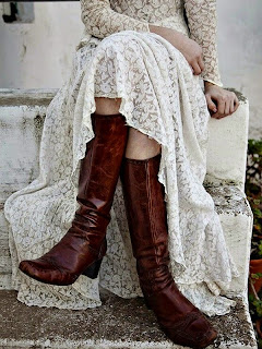 Leather boots and a lovely lace gown