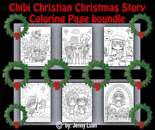Chibi Christian Christmas Story coloring page bundle