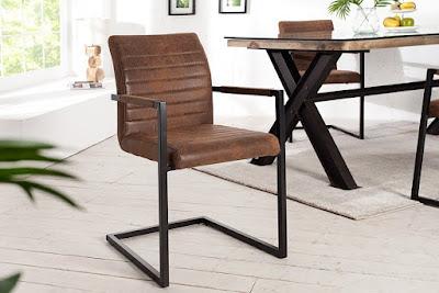 Freischwinger Stuhl EMPIRE Vintage braun