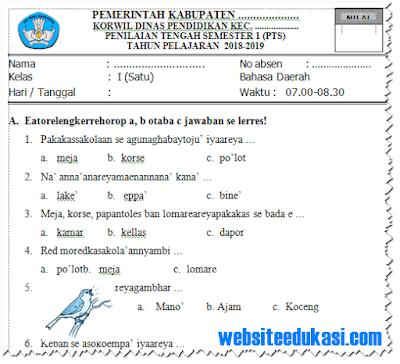 Soal PTS/ UTS Bahasa Madura Kelas 1 Semester 1 Tahun 2018/2019
