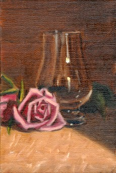 Oil painting of a pink rose and a Glencairn whisky glass.