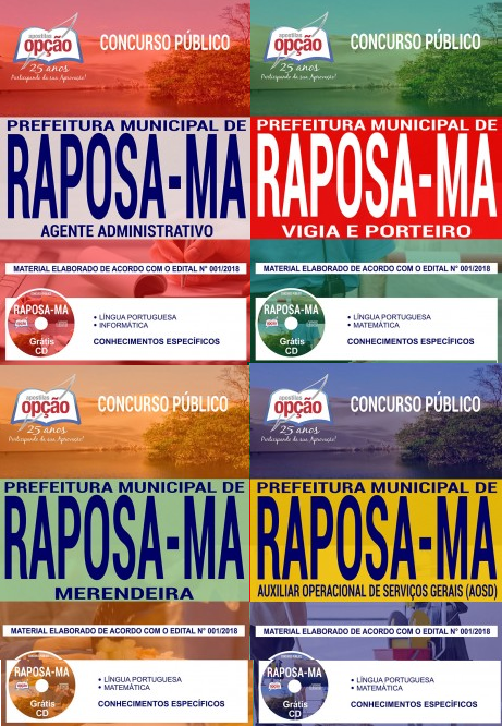 Apostila Prefeitura de Raposa - Auxiliar Operacional de Serviços Diversos;