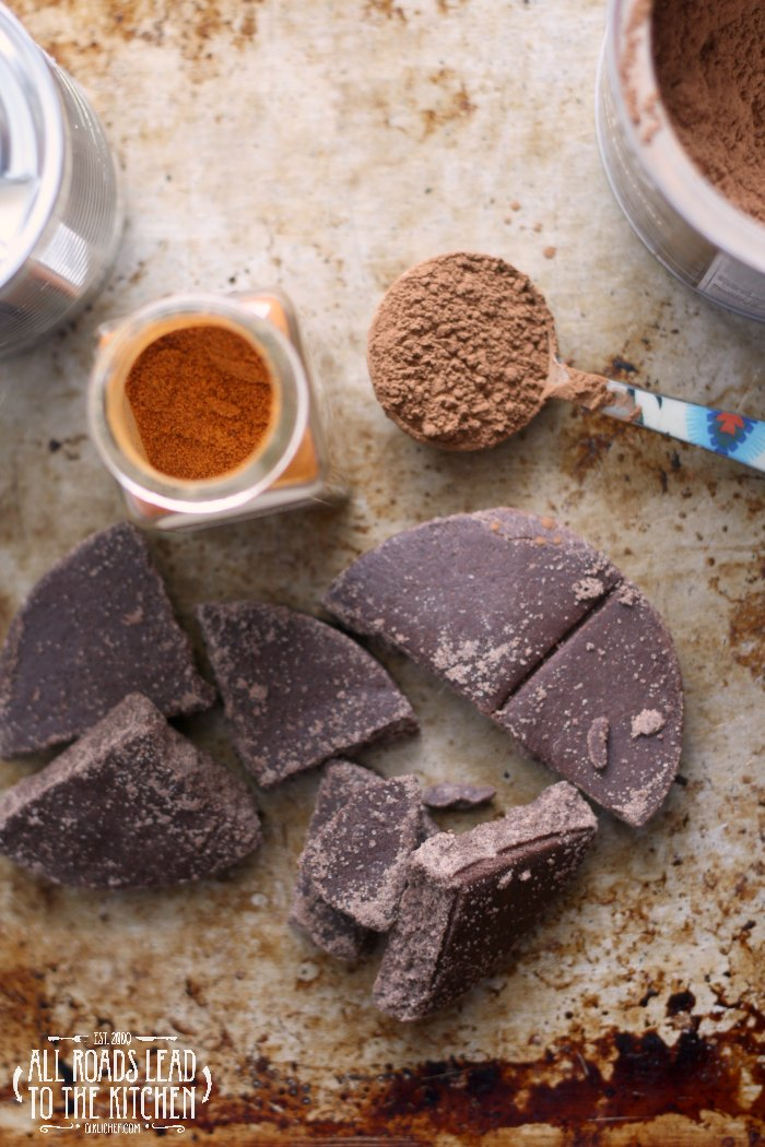 ingredients for frozen Mexican hot chocolate