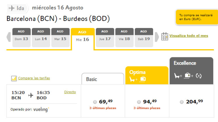 tarifas low cost vueling