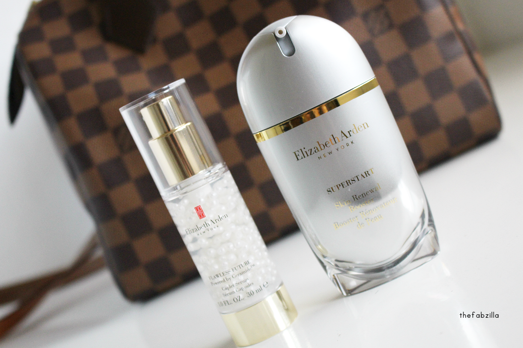 elizabeth arden flawless future caplet serum, elizabeth arden superstart skin renewal booster, review