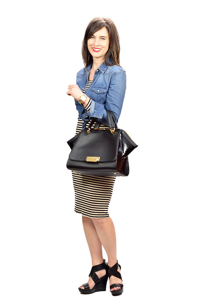 striped dress, wedge sandals, casual work outfit, spring style 2016
