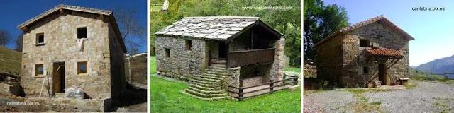 Casas pasiegas en Cantabria, España