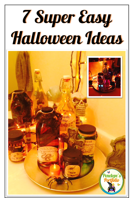 Bottles of various sizes with fun Halloween lables on them and a skeleton in the background make this bathroom fun and spooky