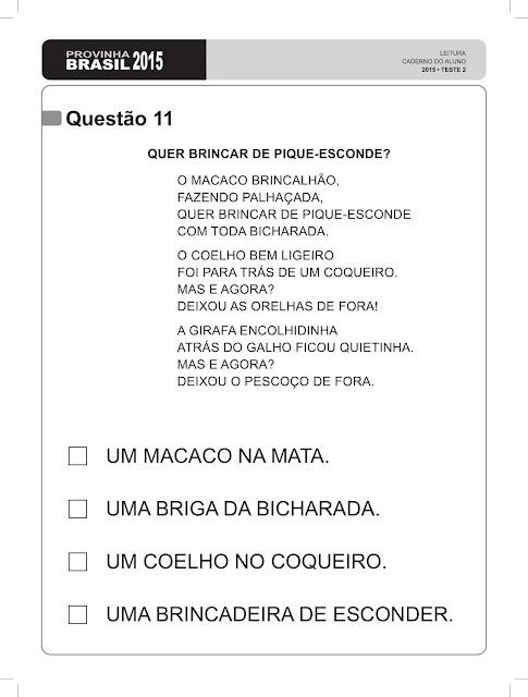 Provinha brasil 2015 leitura teste 2