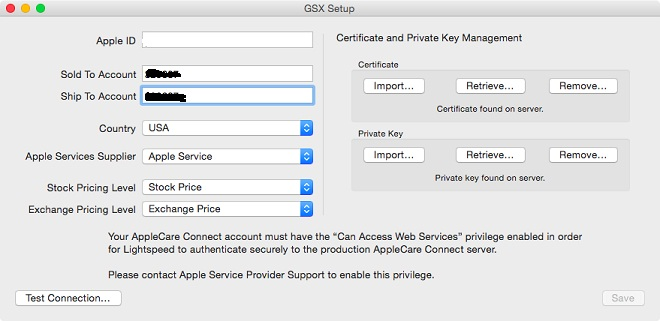 Apple GSX Server With ADMIN+TECH Roles With Full Setup of Jobs+