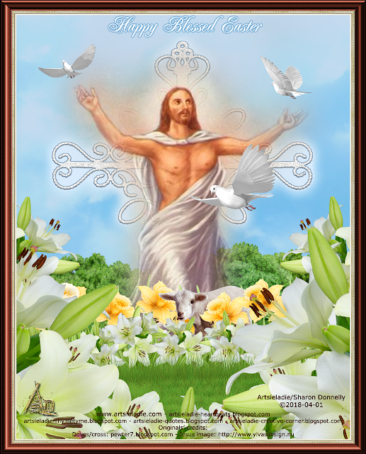 Easter greeting by/copyrighted to Artsieladie