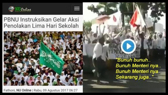 """Heboh!! Demo NU Tolak FDS, Peserta Aksi Teriakan """"Bunuh Menteri"""""""