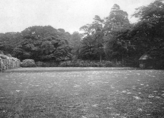 Photograph of the tennis court at Leggatts taken from the 1911 auction brochure