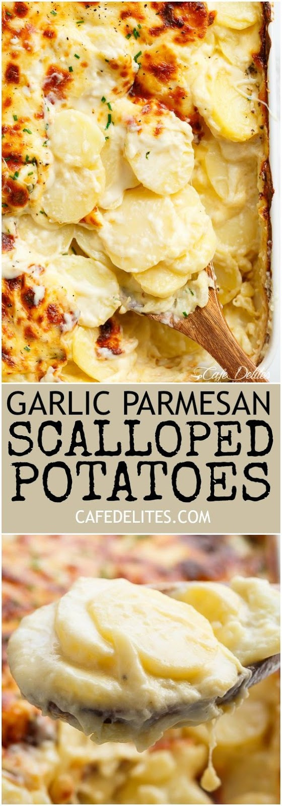 Deliciously cheesy scalloped potatoes are full of garlic flavour and parmesan cheese! Soft and tender potatoes smothered and enveloped in a thick and creamy garlic sauce, layered with mozzarella cheese for a cheesy string then crisped with your oven broiler or grill to get a crispy, cheesy top layer.