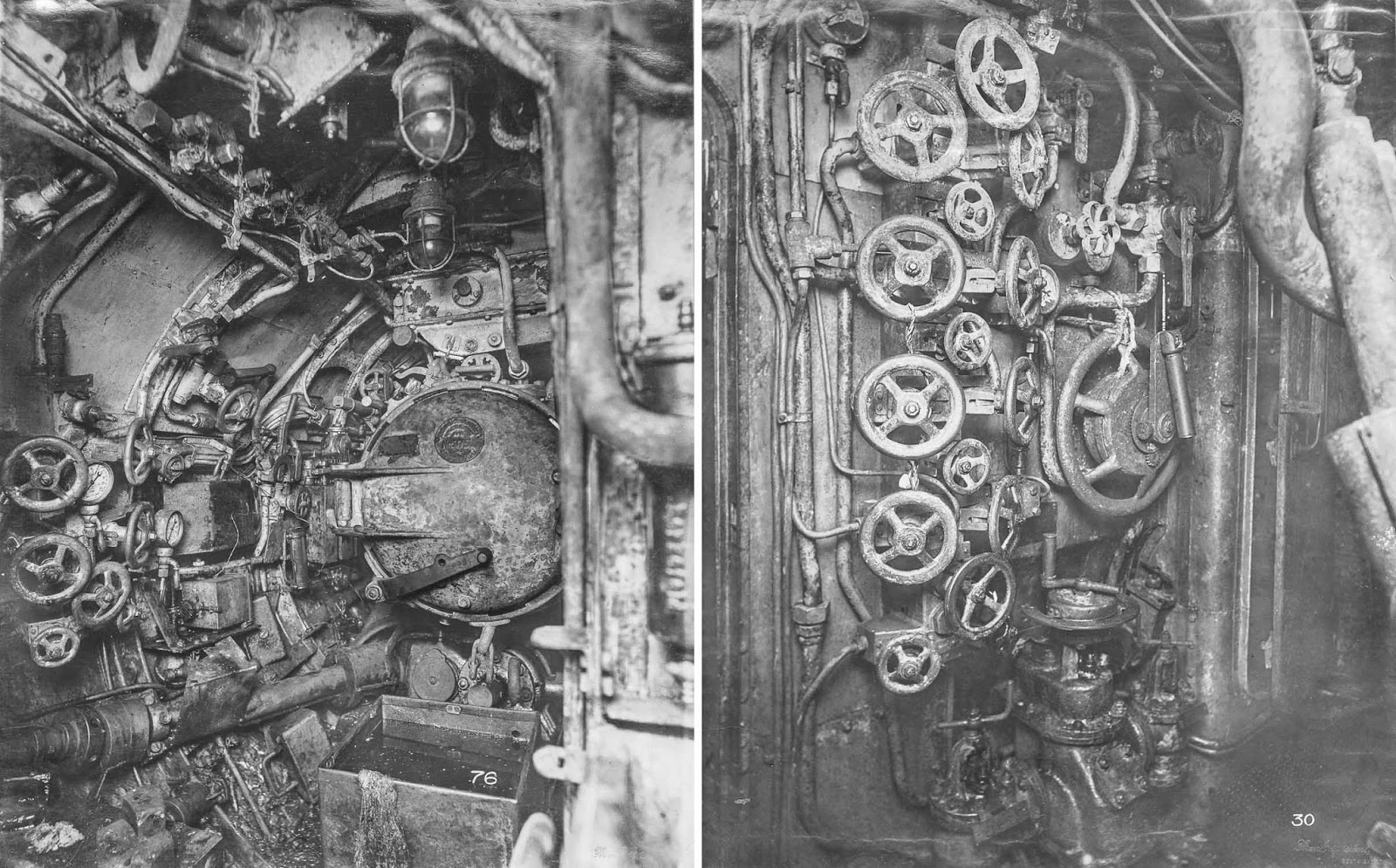 (Left) Aft torpedo room. (Right) Control room looking forward to port. Wheels to control air temperature and pressure are visible.