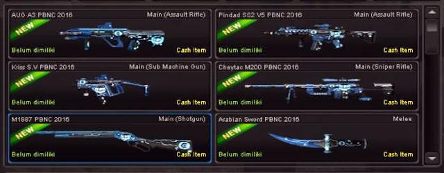 Daftar Harga Lengkap Senjata Seri PBNC Beserta PBNC Set 2016 dan PBIC Set 2016