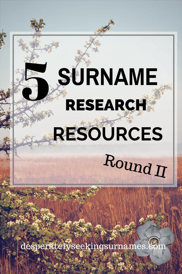 5 Online Surname Origin Resources Round II
