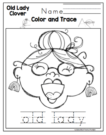 Old Lady Who Swallowed a Clover ~ Preschool Printables