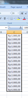 Angka dengan format mata uang rupiah