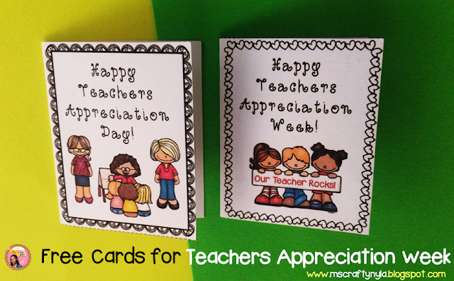 Free Teachers Appreciation Week Cards printable