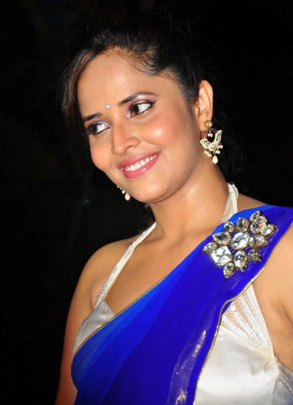 Anchor Anasuya Hot Photos In Blue Saree