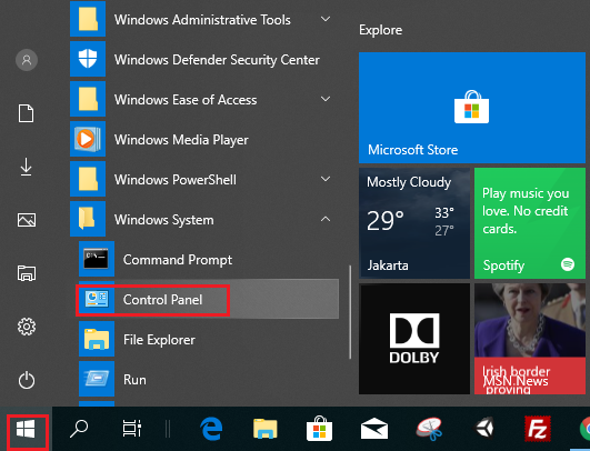 windows 10 control panel shortcut