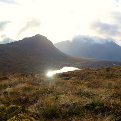 sparkley sun on Lough Shannagh - growourown.blogspot.com