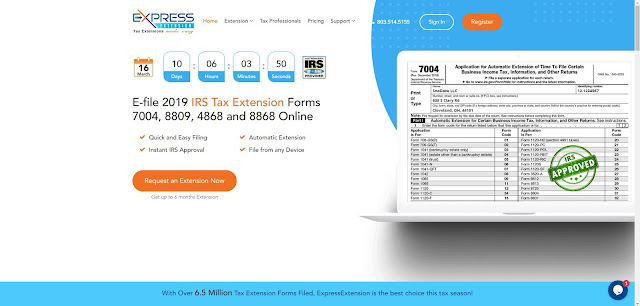 ExpressExtension website for IRS Form 4868 tax deadline extension
