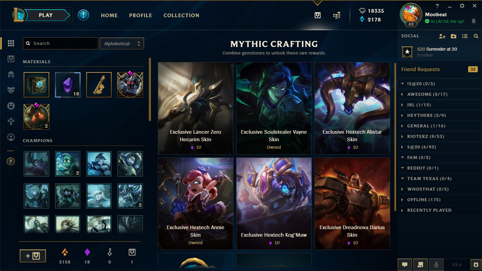You can craft this skin for 10 gemstones, simply click the gemstones in  your inventory to access mythic crafting and select Hextech Alistar.