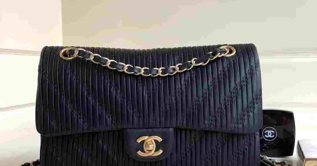6956179675aed8 Daily New:Chanel pleated crumpled calfskin classic handbag medium flap bag  A01112