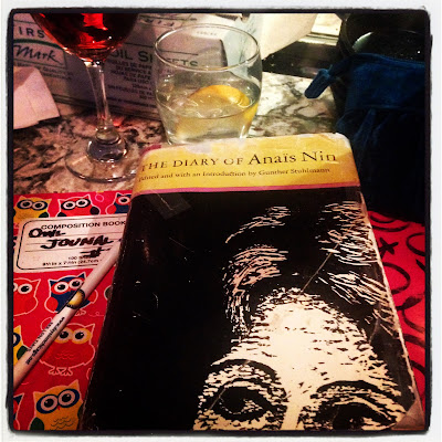 Reading Anais Nin and Journaling while at a bar