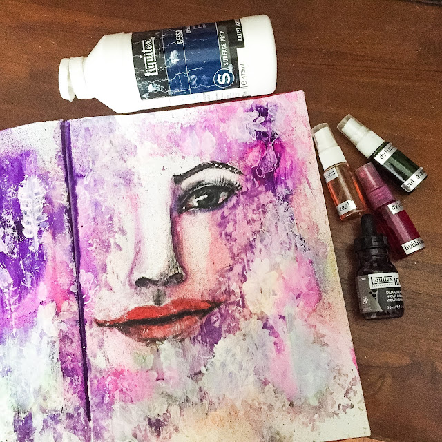 Mixed media girl in art journal