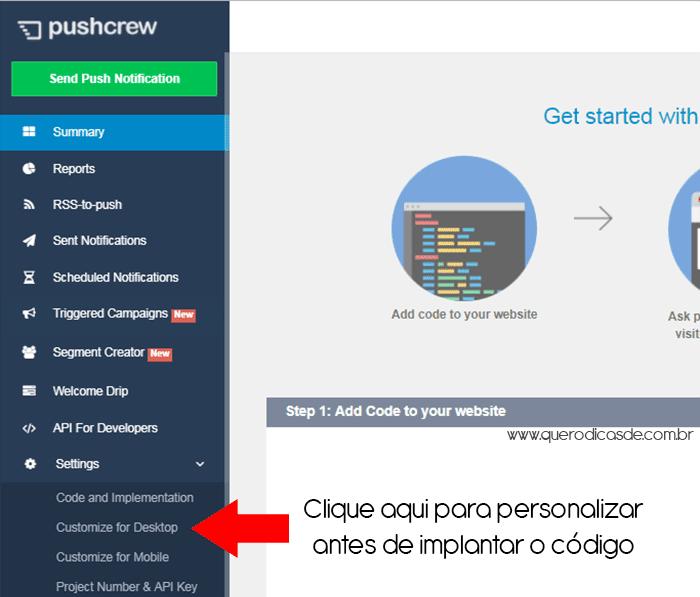Sistema de notificações Push